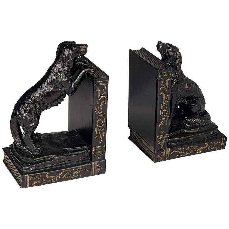 Playful Golden Retriever Dog Bookends Set