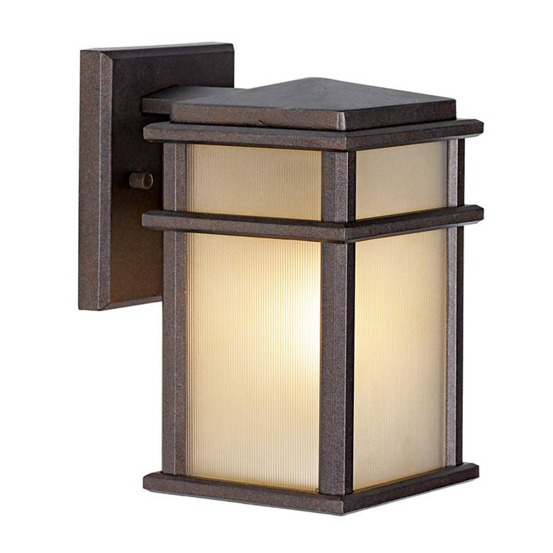"""Feiss Mission Lodge Bronze Wall Mount 9"""" High Lantern"""