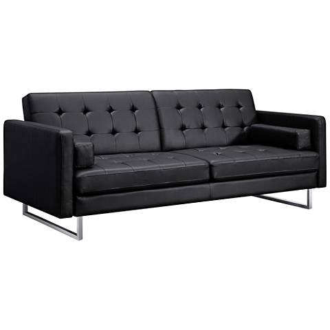 Giovanni Black Faux Leather Tufted Sofa Bed