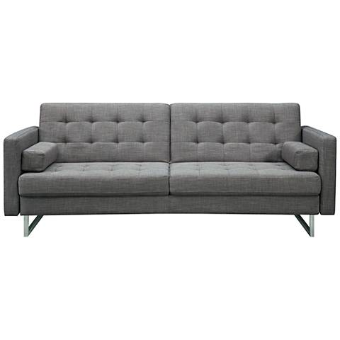 Giovanni Gray Fabric and Stainless Steel Tufted Sofa Bed