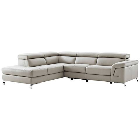 Madison Light Gray Leather Left-Arm Facing Chaise Sectional