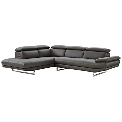 Pandora Dark Gray Leather Left-Arm Facing Chaise Sectional