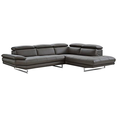 Pandora Dark Gray Leather Right-Arm Facing Chaise Sectional