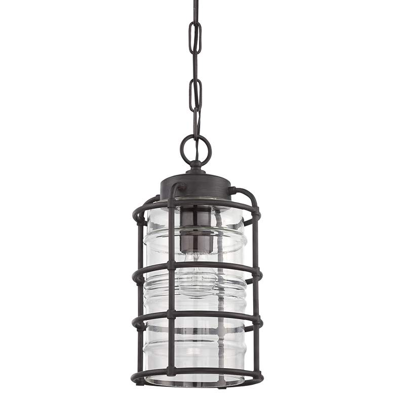 """Hadley 14""""H Aged Brushed Bronze Outdoor Hanging Light"""