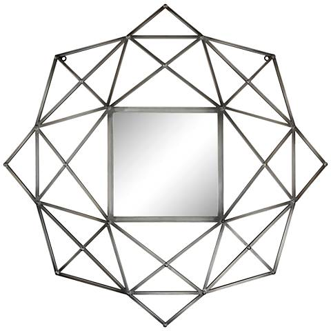 "Wilton Geometric Metal 32"" x 33 1/2"" Wall Mirror"