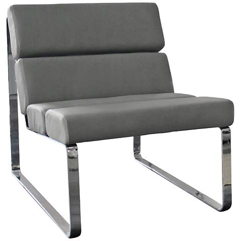 Angel Gray Faux Leather Accent Chair