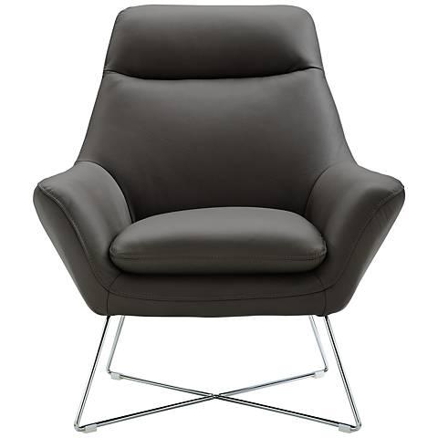 Daiana Dark Gray Top Grain Italian Leather Armchair