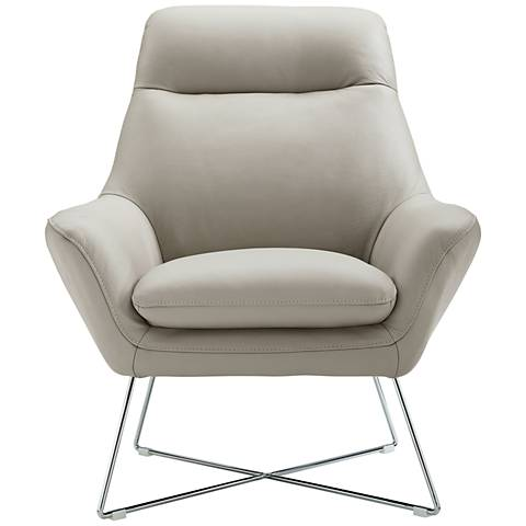 Daiana Light Gray Top Grain Italian Leather Accent Chair
