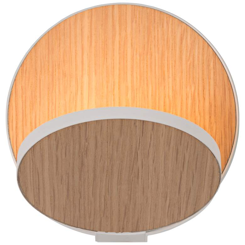 "Koncept Gravy 5""H White and White Oak Swivel LED Wall Sconce"