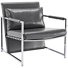 Jameson Gray Faux Leather and Stainless Steel Armchair