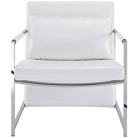 Jameson White Faux Leather and Stainless Steel Armchair