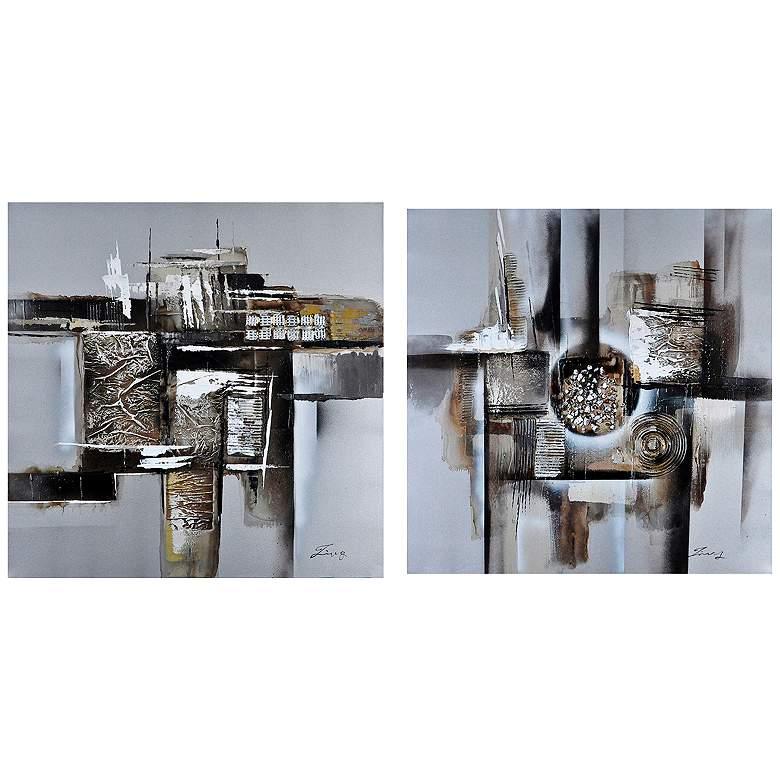 "Crestview Alpha II 31 1/2"" Square 2-Pc Canvas Wall Art Set"