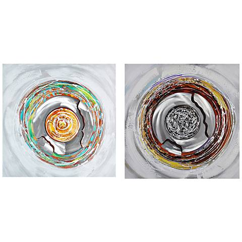 """Crestview Galaxy 31 1/2"""" Square 2-Piece Linen Wall Art Set"""