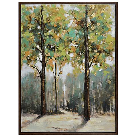 "Crestview Seasons 47"" High Oil Painting Framed Wall Art"