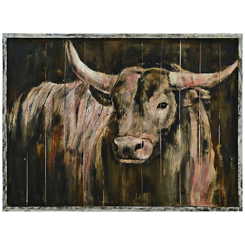 """Crestview Collection Mad Max 48"""" Wood Panel Bull Wall Art"""