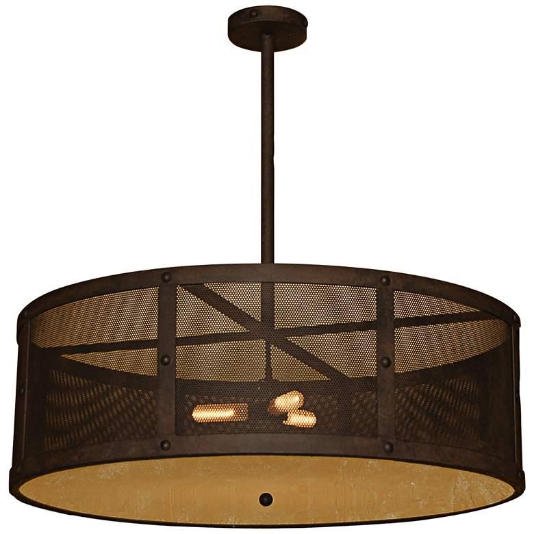 """Robertson 36""""W Salmon Rust 3-Light Indoor-Outdoor Pendant"""