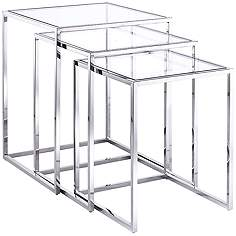 Nesting tables lamps plus terzi steel and glass 3 piece nesting side table set watchthetrailerfo