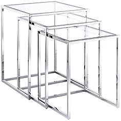 Terzi Steel and Glass 3-Piece Nesting Side Table Set