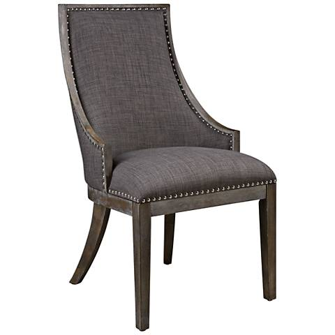 Uttermost Aidrian Charcoal Gray Fabric Accent Chair