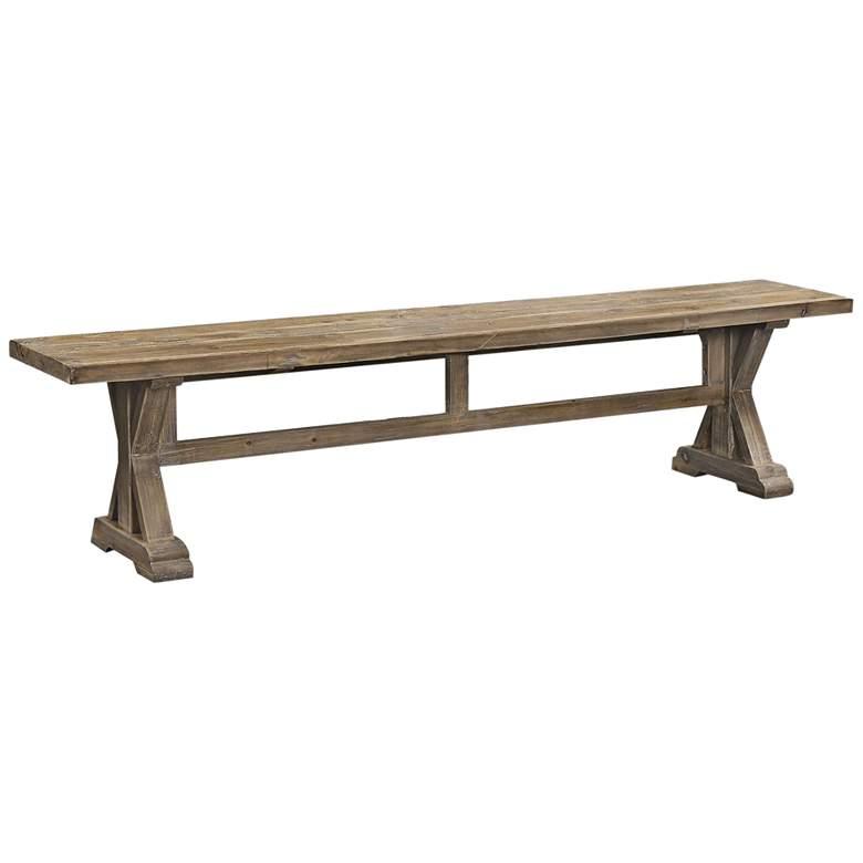 Uttermost Stratford Gray Wash Wood Bench