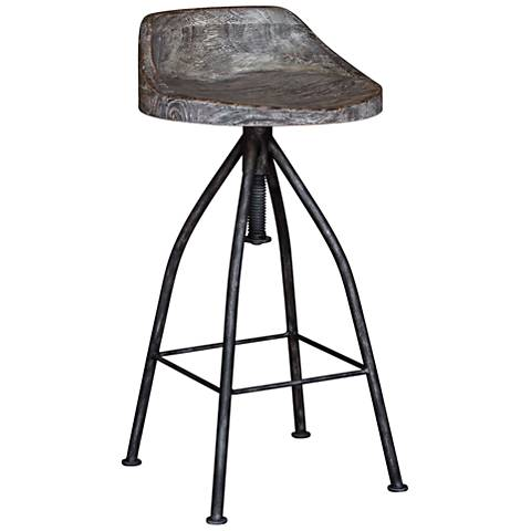 "Uttermost Kairu 33"" Black and Gray Glaze Swivel Bar Stool"