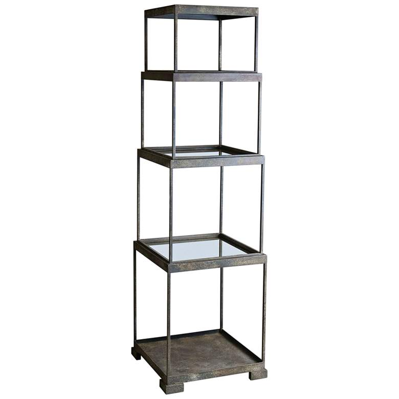 "Friedman 71"" High Rustic Bronze Stacked Cubes Etagere"