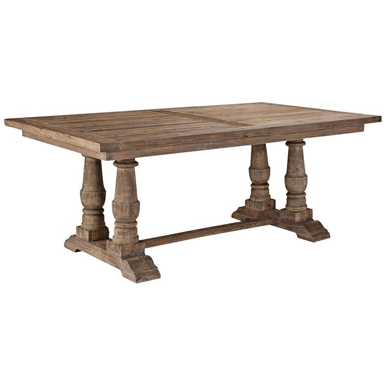 """Uttermost Stratford 76""""W Stony Gray Wash Wood Dining Table"""