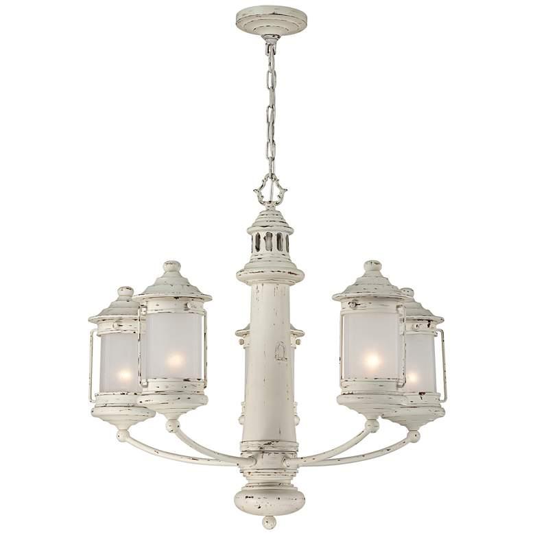 "Light House 27"" Wide Antique White 5-Light Chandelier"