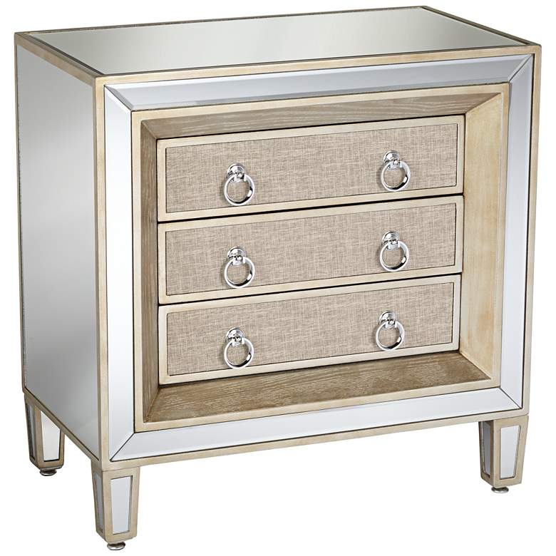 """Mira 28"""" Wide 3-Drawer Mirrored Accent Table"""
