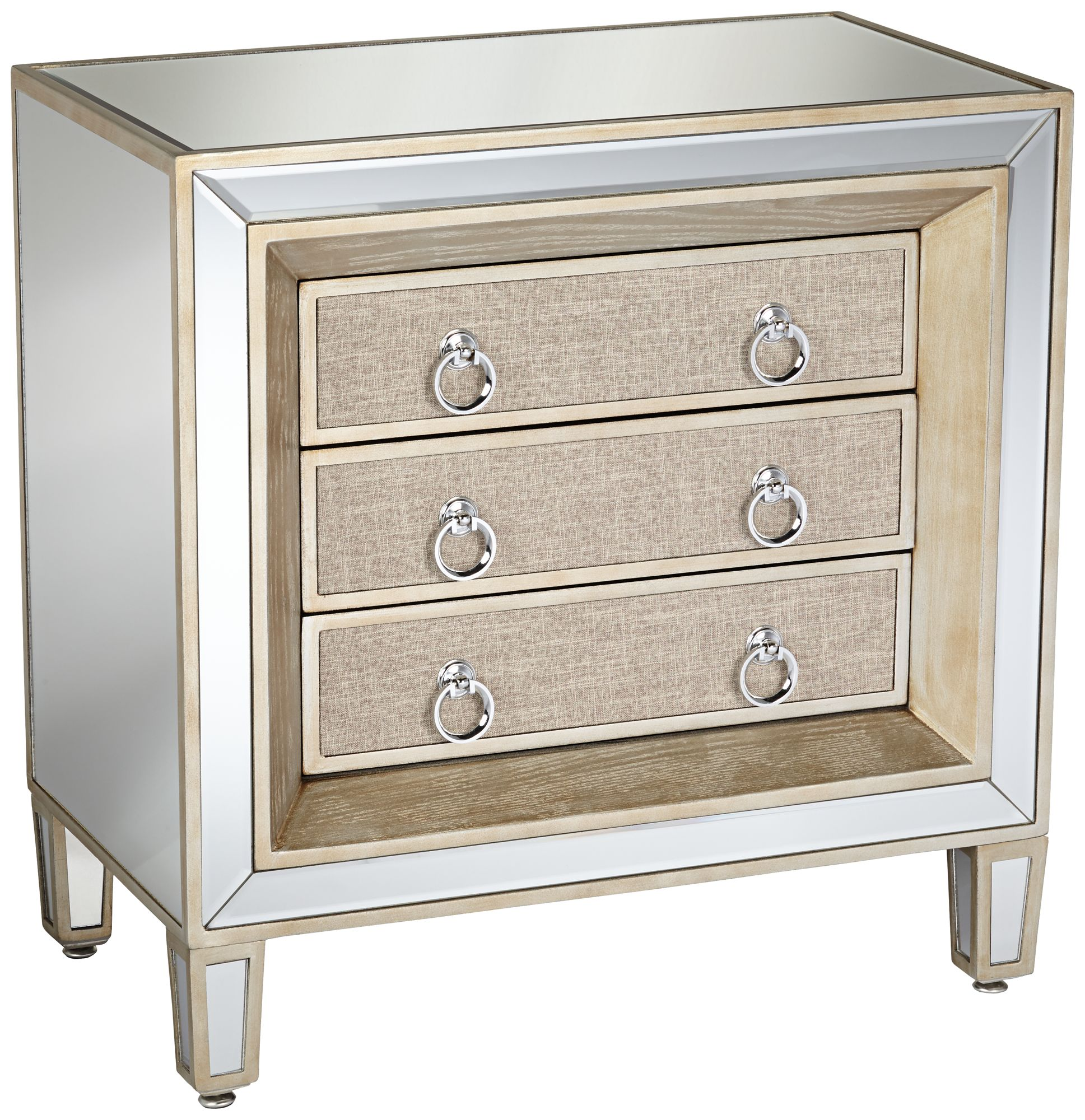 Mira Mirrored 3 Drawer Accent Table