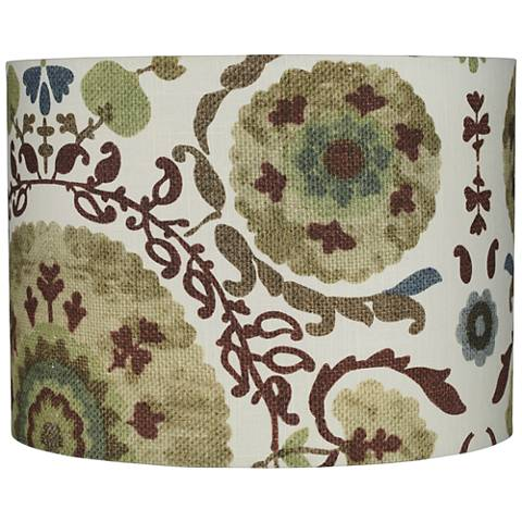 Floral Green Paisley Hardback Drum Lamp Shade 15x15x11 (Spider)