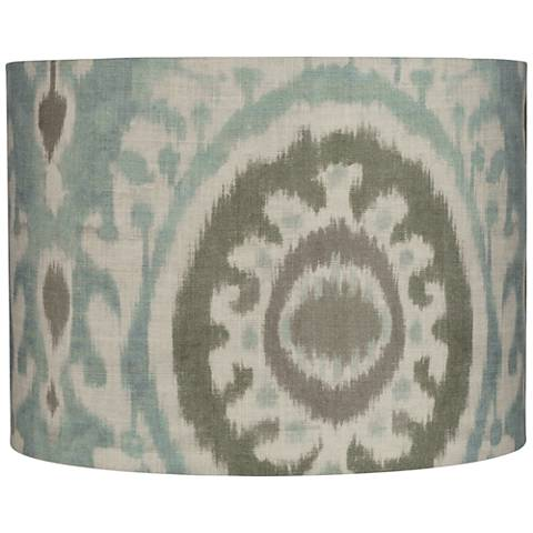 Paisley Batik Green and Blue Drum Lamp Shade 15x15x11 (Spider)