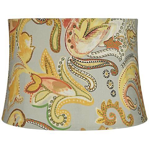 Yellow Paisley Print Drum Lamp Shade 14x16x11 (Spider)