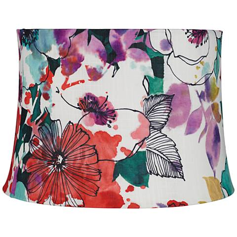 Multi-colored Flowers Drum Lamp Shade 15x15x11 (Spider)