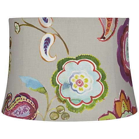 Beige and Colored Flower Drum Lamp Shade 14x16x11 (Spider)