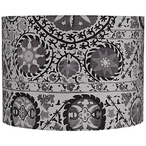 Black and Gray Suzani Drum Lamp Shade 15x15x11 (Spider)