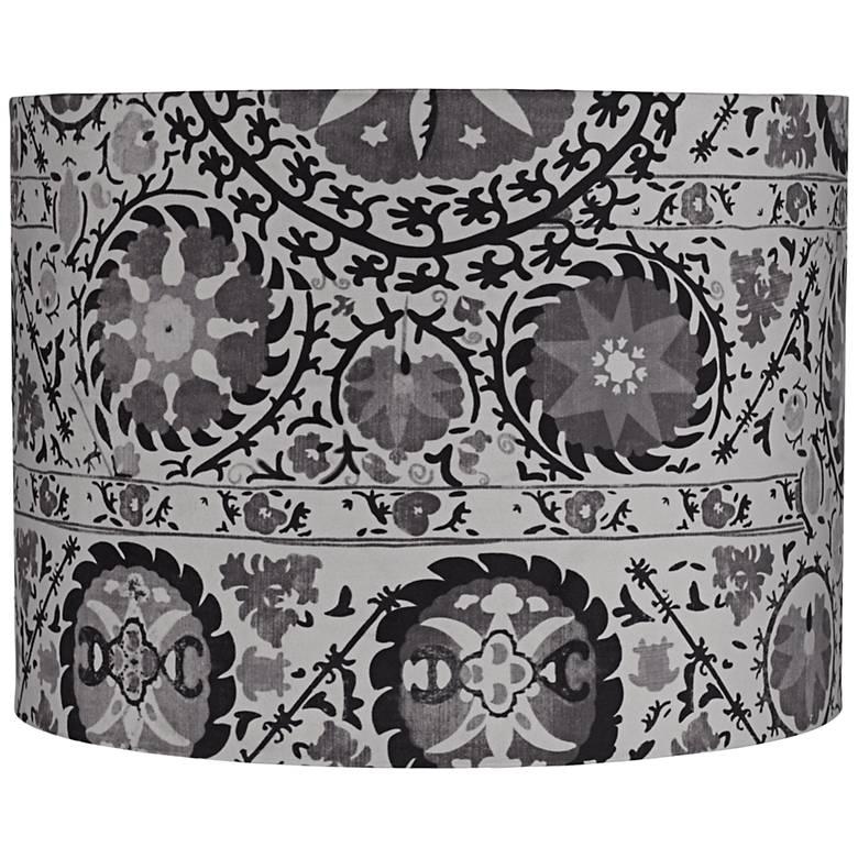 Black and Gray Suzani Drum Lamp Shade 15x15x11 (Spider)