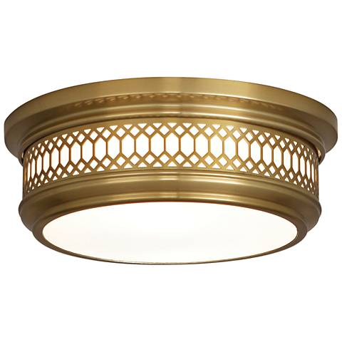 "Tucker 10 3/4"" Wide Antique Brass Ceiling Light"