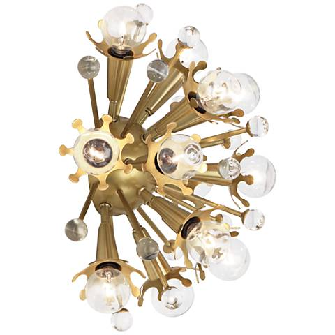 "Jonathan Adler Sputnik 13 1/2""H Antique Brass Wall Sconce"