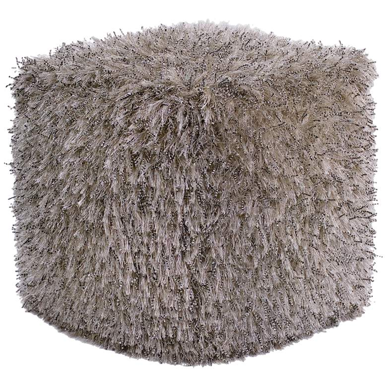 Carly Champagne Shimmer Shag Square Pouf Ottoman
