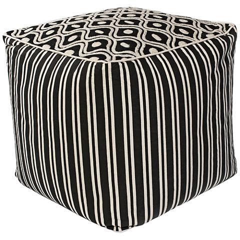 Zagora Black and White Groove Cotton Square Pouf Ottoman