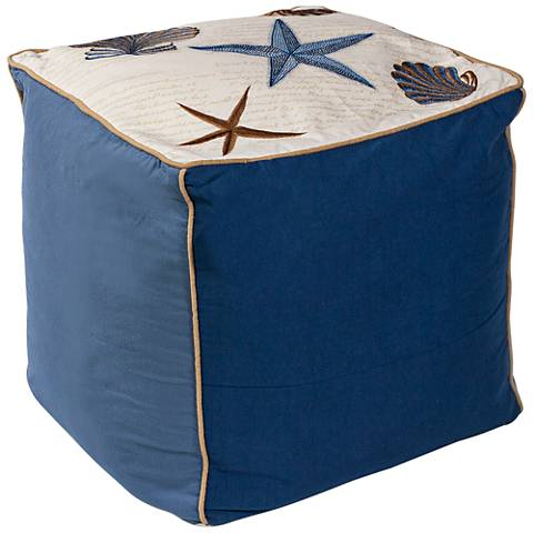 Waverly Seashells Cotton Square Pouf Ottoman