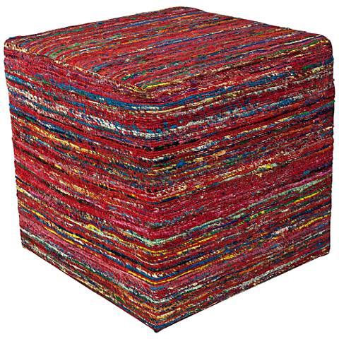 Amber Red Multi-Color Woven Viscose Square Pouf Ottoman