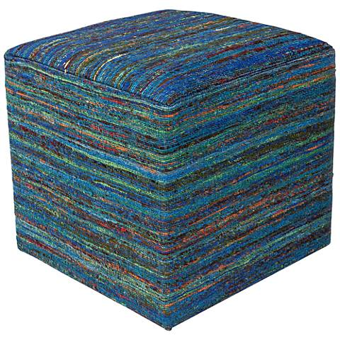Eldon Aqua Multi-Color Woven Viscose Square Pouf Ottoman