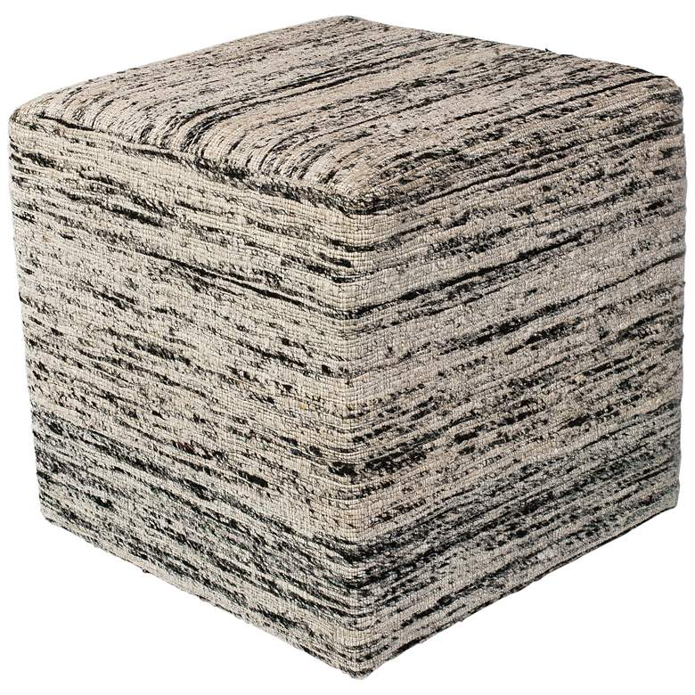 Canton Black and White Woven Viscose Square Pouf
