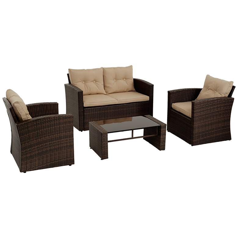 Carmel All-Weather Wicker 4-Piece Outdoor Seating Patio Set
