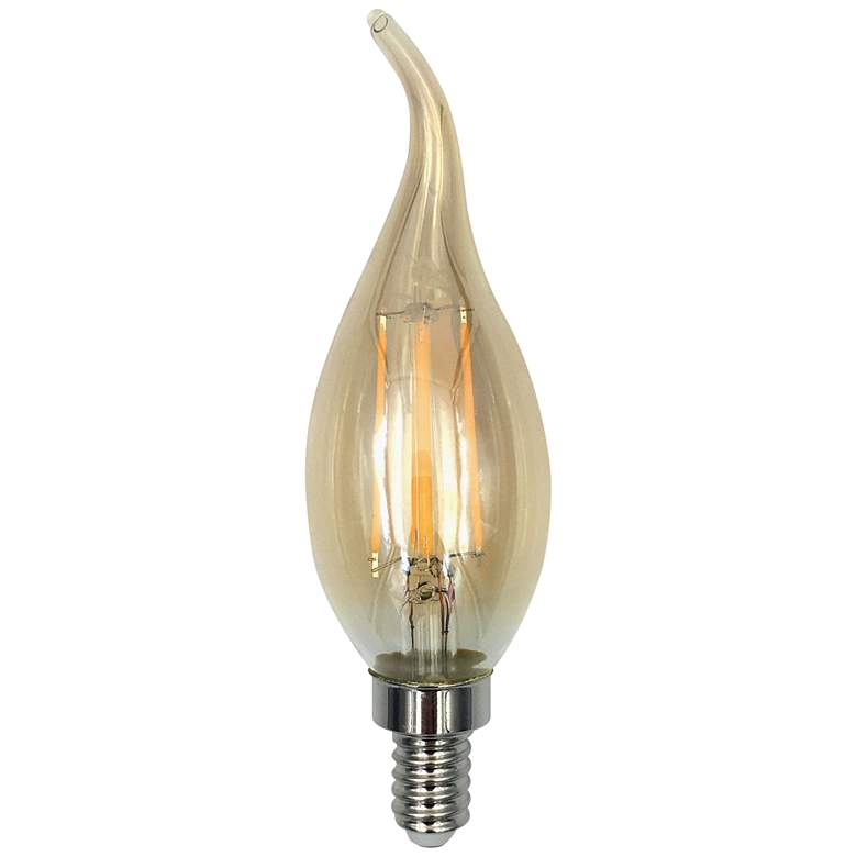 40W Equivalent Amber 4W Dimmable Flame Tip LED Candelabra