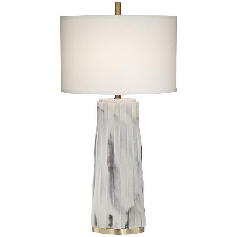 Glacier White Faux Marble Contemporary Table Lamp