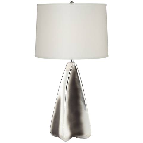 Hypnotic Brushed and Black Chrome Pyramid Table Lamp