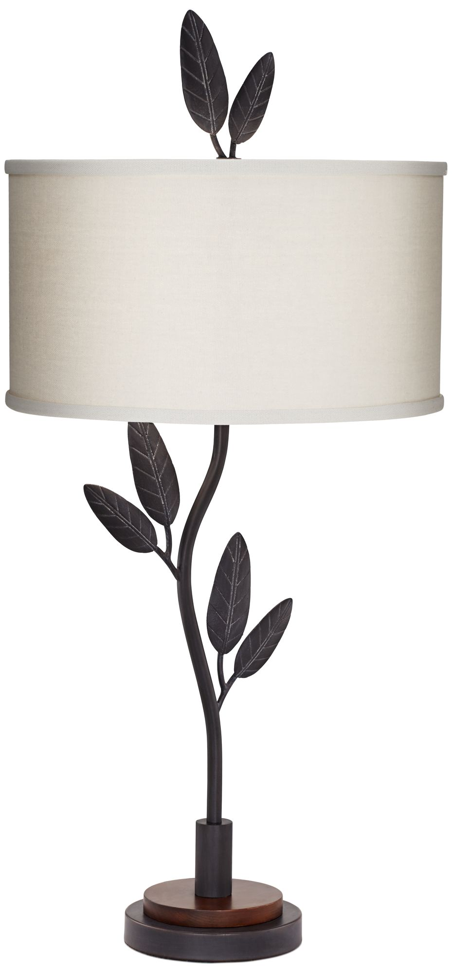 Sade Black Branch And Leaves Cast Iron Table Lamp